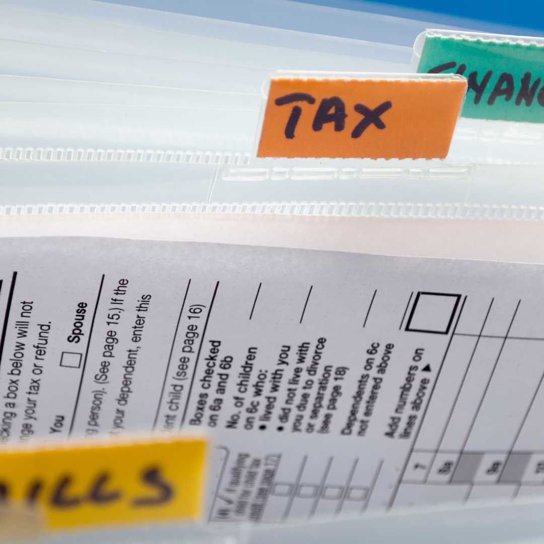 Tax Bill, Tax Folder. Tax Paper return